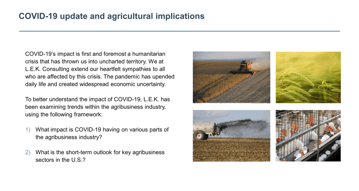 Agricultural implications from COVID-19